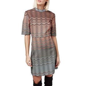 TOPSHOP Metallic Chevron-Print Dress
